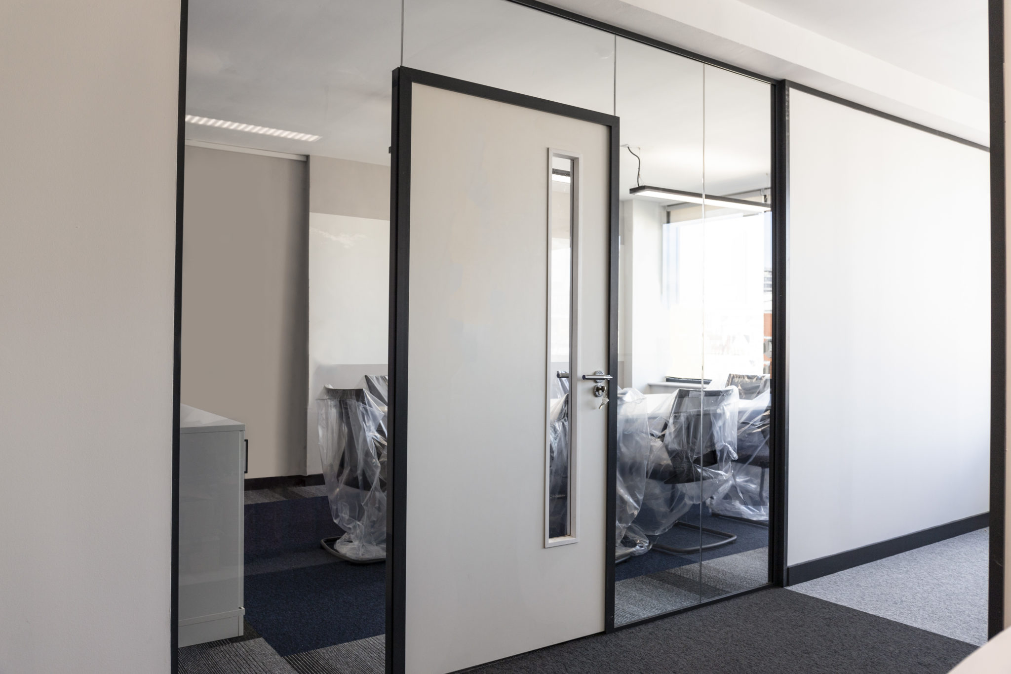 single glazed partition with timber doors